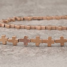 Hématite cross 8x10mm pink gold