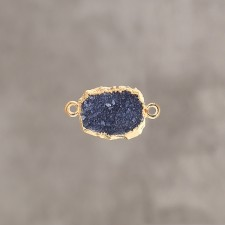 Druzy slice noir pl.or 1 m 12x14mm 2 anx