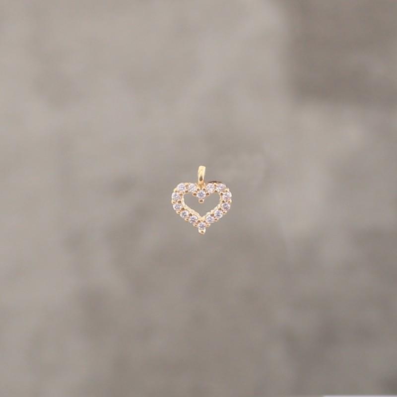 Coeur strass 6.5mm pl.or 0.5 mic