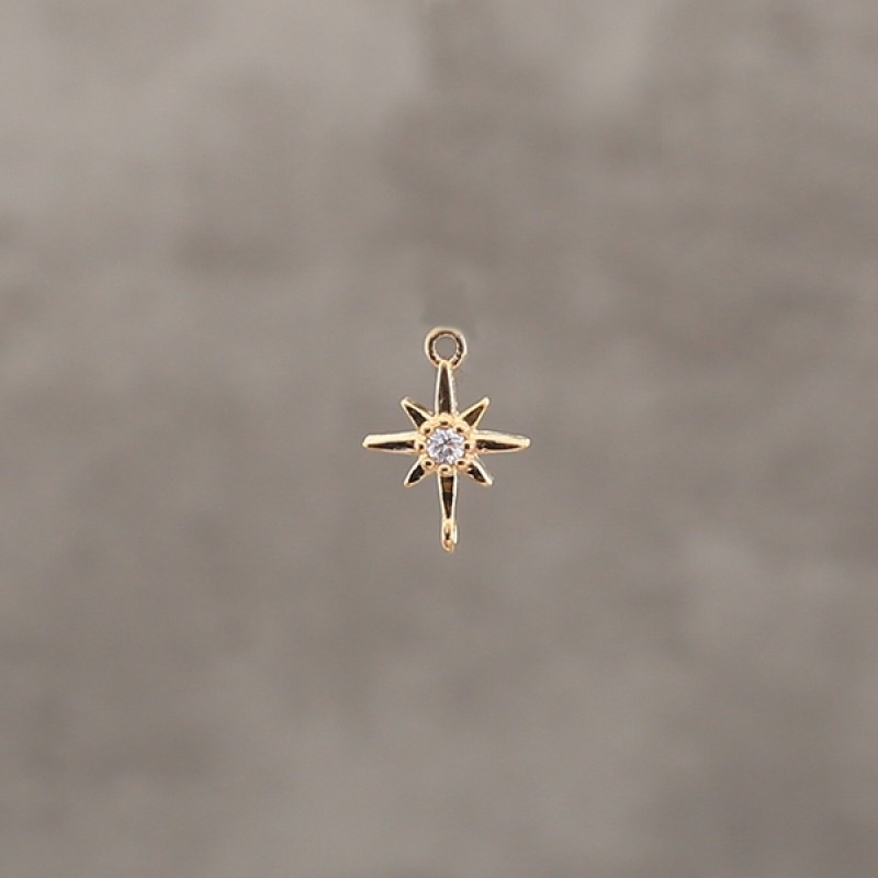 Etoile polaire strass 6.5mm pl.or 0.5 mic