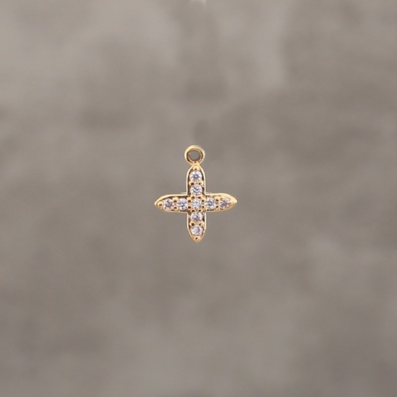 Croix 9.5mm strass pl.or 0.5 mic